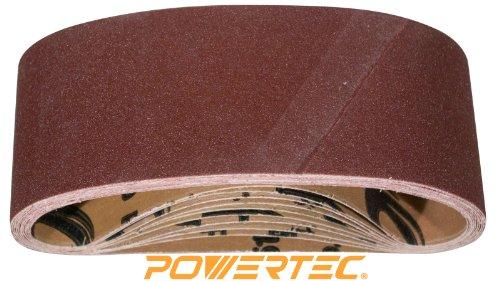 POWERTEC 110430 3-Inch x 21-Inch 80 Grit Aluminum Oxide Sanding Belt 10-Pack