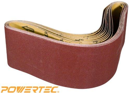 POWERTEC 110680 4-Inch x 36-Inch 80 Grit Aluminum Oxide Sanding Belt 10-Pack