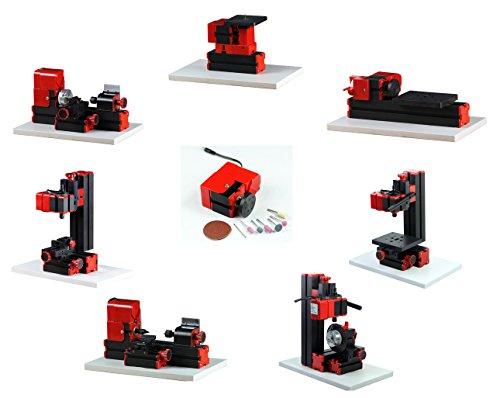 ZhouYu 8 in 1 24W Basic Mini Multi-function Combination Machine Tools Mini Lathe Jigsaw Wood Turning Lathe Milling Machine Drilling Machine Sanding MachineDividing Drillilng Machine Z8001