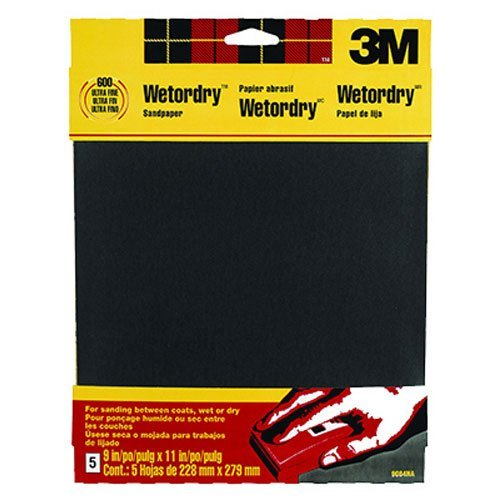 3M Wetordry Sandpaper 9-Inch by 11-Inch Extra Fine 320 Grit 5-Sheet - 9086DC-NA