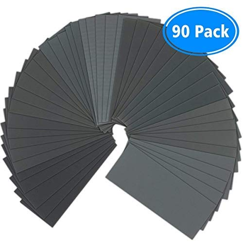 Sandpaper 90 Pcs 400 to 3000 Grit Wet Dry Sandpaper Assortment 9x36 Inch for Automotive Sanding - Wood Furniture Finishing - Wood Turing Finishing and More by VERONES
