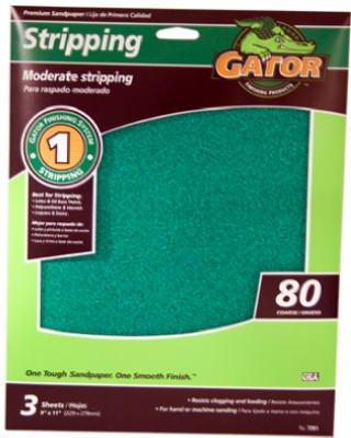 Ali Industries 7261 3-Pack EZ123 9 x 11-Inch 80-Grit Sandpaper Sheet - Quantity 10