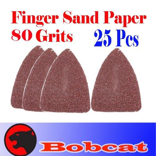 Pack 25 Sandpaper 80 Grits Sand Paper Finger Detail w loop backing for Fein Multimaster Bosch Multi-x Craftsman Nextec Dremel Multi-max Ridgid Dremel Chicago