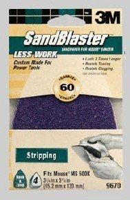 3M 9670ES-30-B 60 Grit SandBlaster Mouse Sandpaper Sheets 4-Pack by 3M