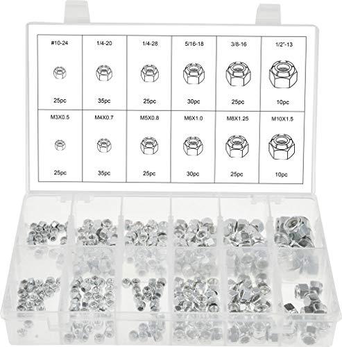 Swordfish 30450 - Stainless Steel Nylon Insert Lock Nut Assortment SAE Metric 12 sizes 300 pieces