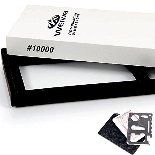 WEIWEI10000 Grit Whetstone ★ Bonus Card Wallet Knife ★ Waterstone Knife  Razor Sharpener Super Fine Sharpening Stone for Sharpening and Polishing Edges