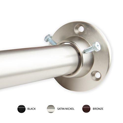 Rod Desyne 1 Adjustable Room Divider Rod with Socket Set 48-84 Satin Nickel