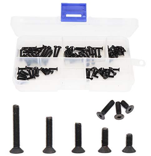 binifiMux 100pcs M25 Black Flat Socket Cap Screws Assortment Kit 129 Grade Alloy Steel M25 x 6mm 8mm 10mm 12mm 16mm
