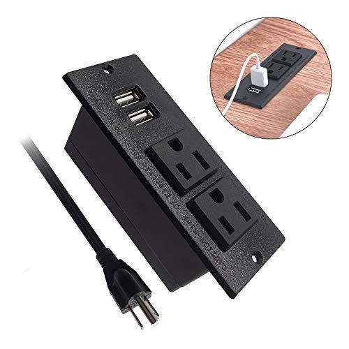 Kungfuking Desktop Power Grommet Conference Recessed Power Strip in Desk Outlet Power Socket 2-Socket2-USB Ports 985 FT Extension Power Cord Black