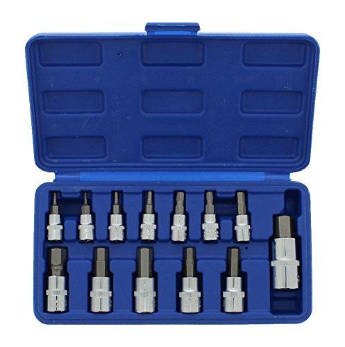 ABN Metric Allen Wrench Set 13pc Hex Bit Set - 14in Dr 2-6mm 38in Dr 7-12mm 12in Dr 14mm Allen Socket Set Tool Kit