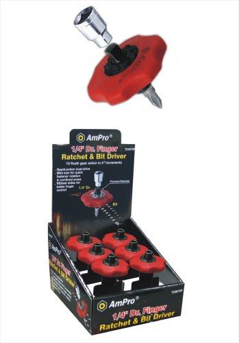 AMPRO T19087 14-Inch Drive Finger Ratchet and Bit Driver