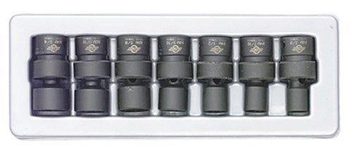 Sunex 3654 7 Piece 38-Inch Drive Standard Fractional Universal Socket Impact Set
