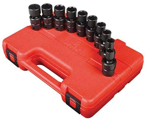 Sunex 3657 38-Inch Drive Standard Metric Universal Socket Impact Set 10-Piece