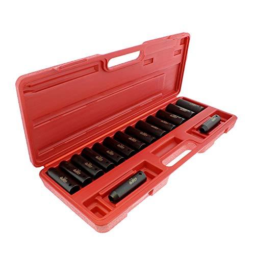 ABN Deep Impact Socket Set - 12 Inch Drive Metric Socket Set 15 Piece 6 Point Socket Set 10MM to 24MM Metric Sockets