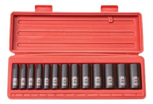 TEKTON 38-Inch Drive Deep Impact Socket Set Metric Cr-V 6-Point 7 mm - 19 mm 13-Sockets  47925