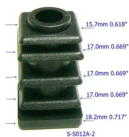 Oajen caster socket furniture insert for 516 x 1-12 stem use with 34 OD square tube 4-pack