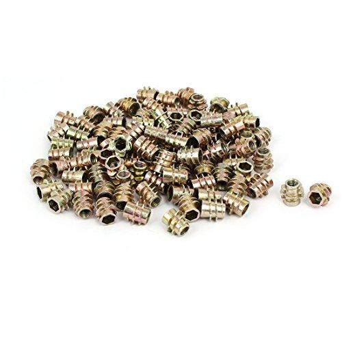 uxcell M5x10mm Zinc Alloy Hex Socket Insert Female Male E-Nuts Threaded Screws 100pcs