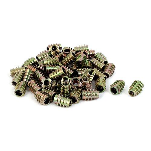 uxcell M6 Thread E-Nut Wood Insert Interface Screws Hex Socket Nut Fittings 50 Pcs