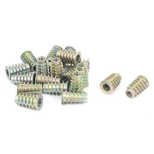 uxcell M6x20mm Hex Socket Screw in Thread Insert Nut 20 Pcs for Wood