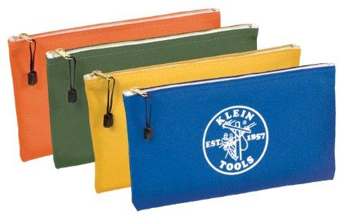 Klein Tools 5140 Canvas Zipper Bags 4-PackOlive Orange Blue Yellow