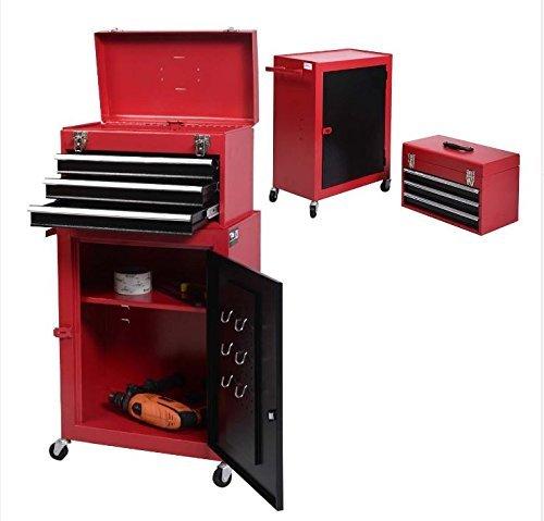 2pc Mini Tool Chest Cabinet Storage Box Rolling Garage Toolbox Organizer