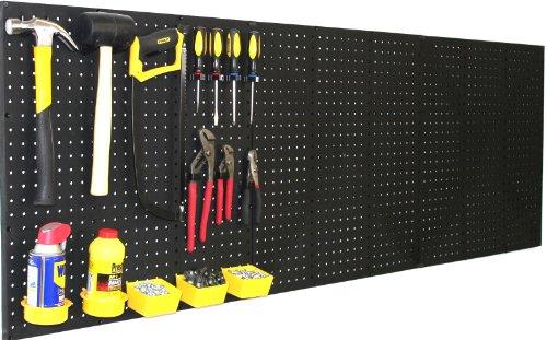 WallPeg 3 Black Plastic Pegboard Panels - 72 Wide Garage Tool Pegboard - AM 212