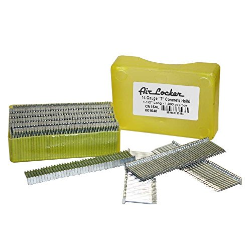 Air Locker CN15AL 14 Gauge Concrete T-Nails for Concrete Nailers 1-12 Inch Smooth Shank 2 Packs of 1000
