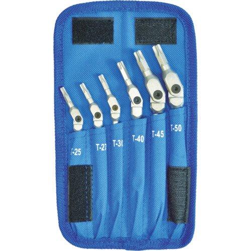 Bondhus 08-0421 00015 HEX-PRO Pivot Head Torx Wrench Set Includes Sizes T25 T27 T30 T40 T45 T50 6 Piece Chrome