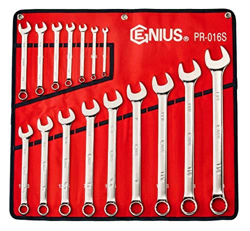 Genius Tools 16 Piece SAE Combination Wrench Mirror Finish PR-016S