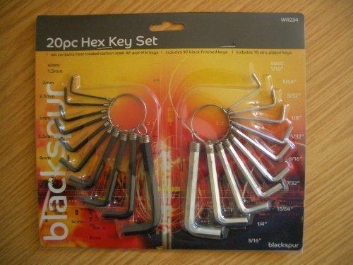 Guilty Gadgets - 20 Pc Allen Alan Allan Hex Key Wrench Set 15-8mm Metric 116-516 Imperial Af