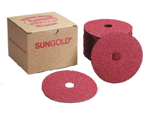 Sungold Abrasives 16906 4-12-Inch x 78-Inch Center Hole 80 Grit Aluminum Oxide Fiber Disc 25-Pack