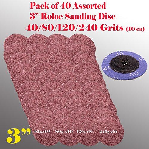 MTP TM 40x Mix 4080120240 Grits 3 Roloc Type R Sanding Abrasive Disc Roll Lock