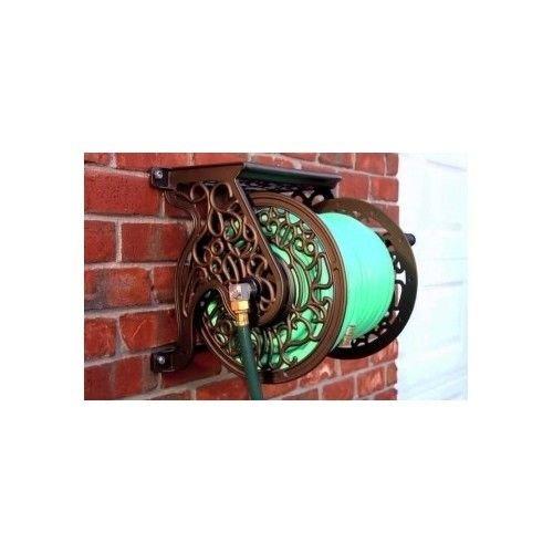 Garden Hose Reel Storage Outdoor Home Gardening Decor Cast Aluminum Wall Mounted idrpier162 ket114172172053493