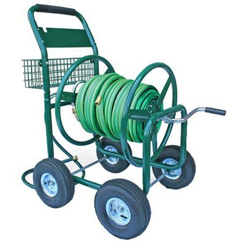 Liberty Garden Products 872-2 Residential 350-Foot Capacity Four Wheel Steel Garden Hose Reel Cart Green