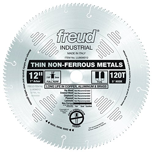 Freud LU90M012 12-Inch 120 Tooth TCG Thin Stock Non-Ferrous Metal Cutting Saw Blade with 1-Inch Arbor