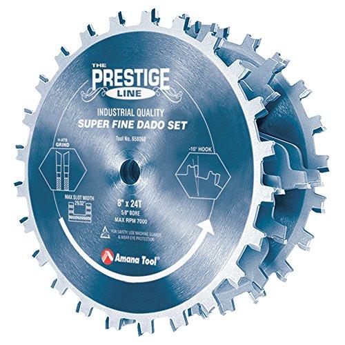 Amana Tool 658060C Electro Blu Coated Carbide Tipped Prestige Dado 8 Inch D x 24T H- ATB 58 Inch Bore Complete Dado Set