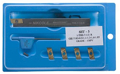 Nikcole SET 5 Mini-Groove Kit 12 Shank toolholder plus 5 coated carbide grooving inserts 035-073