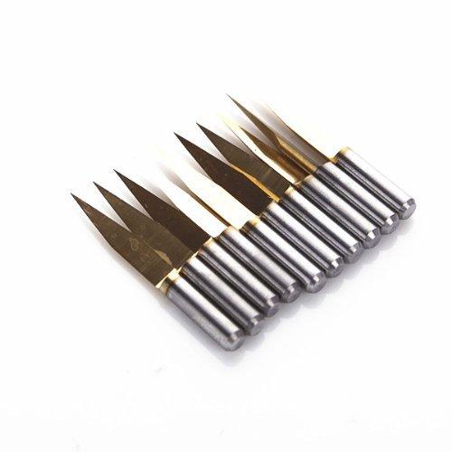 SHINA 10x Titanium Coated Carbide PCB Engraving CNC Bit Router Tool 20 Degree 03mm Tip