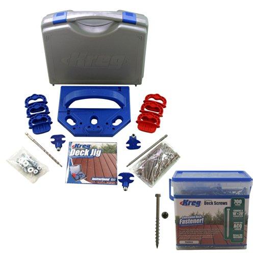 Kreg KJDECKSYS Pocket Hole Jig System Kit w 700 8 Stainless Steel Deck Screws