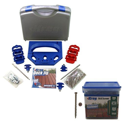 Kreg KJDECKSYS Pocket Hole Jig System Kit with SDK-C2W-700 Number 8 x 2 Coarse Protec-Kote Deck Screw 700ct