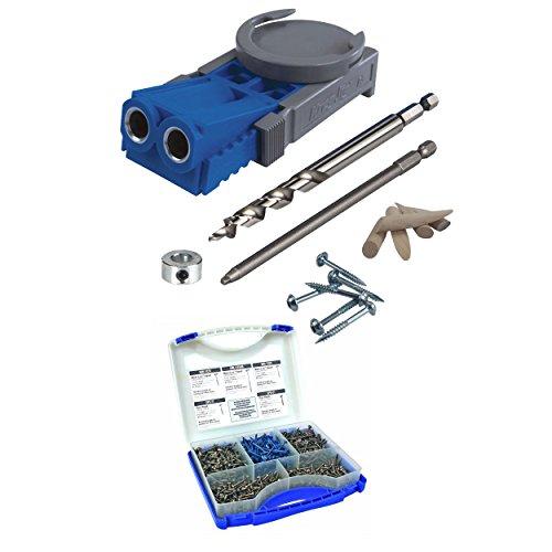 Kreg R3 Jr Pocket Hole Jig System with Kreg SK03 Pocket-Hole Screw Kit in 5 Sizes
