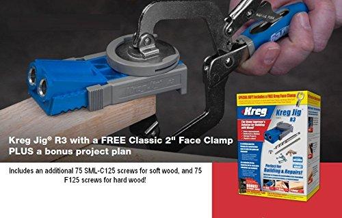 Kreg R3 Pocket Hole Jig  2 inch assembly clamp  150 bonus DIY project screws