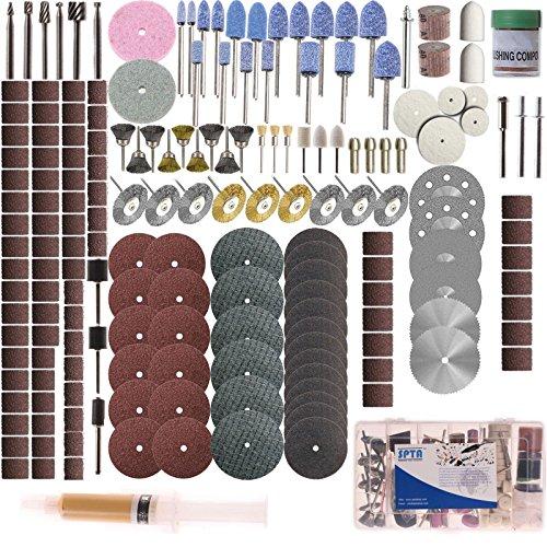 SPTA Rotary Tool Accessory Set With 183mm Shank- For Proxxon Dremel Rotary Tools- GrindingSandingPolishing Pack of 217Pcs