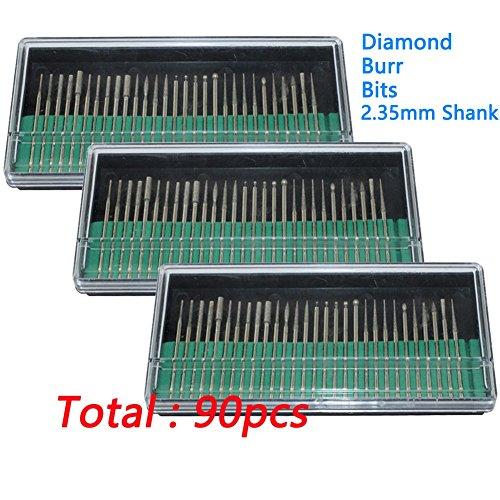 PHYHOO 90 Pcs Diamond Burr Bits Drill Glass Gemstone Metal for Dremel Craftsman Rotary Tool