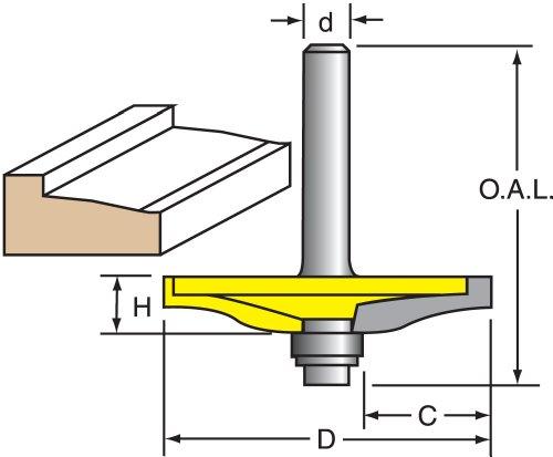 Woodtek 944622 Router Bits Door Construction Raised Panel Backcutters Raised Panel Bit 14 Shank