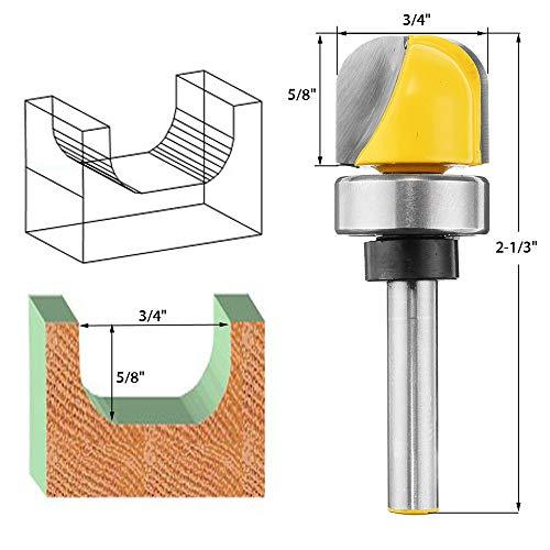 Vafany 14 Inch Shank 34 Inch Diameter Bowl Router Bit Round Bottom Woodwork Cutter
