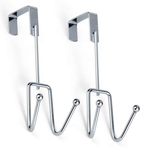 DecorRack 2 Chrome Over The Door Hooks Elegant Durable Heavy-Duty Hanging Storage Hook Rack Space Saving Declutter Double Hook Design Stylish Over Door Hanger for Bathroom Bedroom Pack of 2