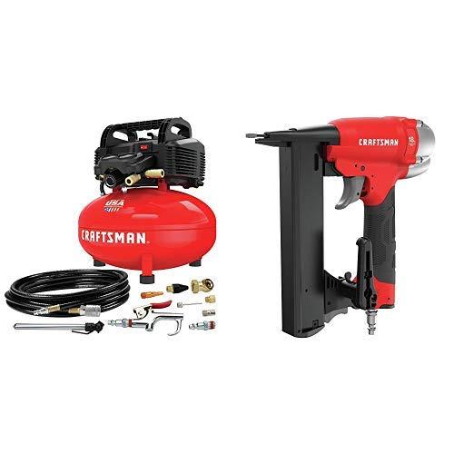 CRAFTSMAN Air Compressor 6 gallon Oil-Free Kit with Crown Stapler 18GA Narrow CMEC6150K CMPNC18K