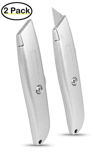 Internets Best Classic Utility Knife - Set of 2 - Retractable Razor Knife Set - Extra Blade Refills - Box Cutter Locking Razor Knife - Full Metal Body