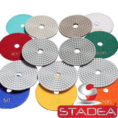4 inch wet dry diamond polishing pads - For Granite Concrete Travertine Marble Polishing 7 Pcs Set By STADEA